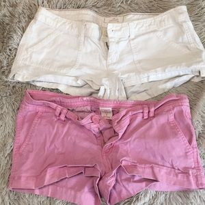 Hollister white shorts & pink target shorts